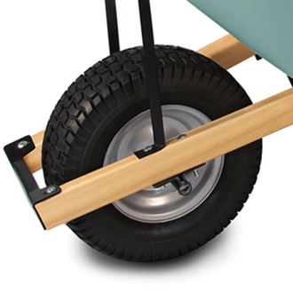 Wheelbarrow with heavy duty hardware